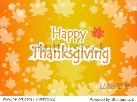 Happy Thanksgiving Day celebration card with orange maple autumn leaves vector background