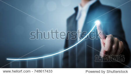 Business development to success and growing growth concept  Businessman pointing arrow graph corporate future growth plan