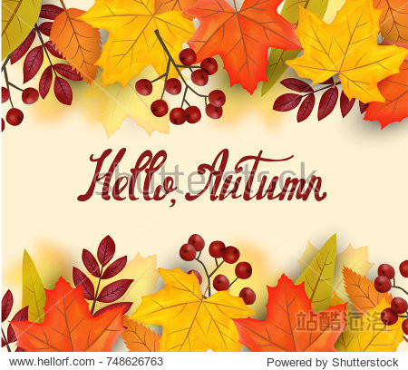 Hello autumn hand lettering. Vector illustration on the background of autumn leaves
