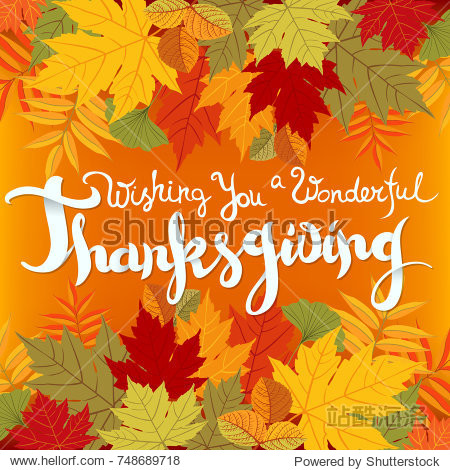 Wishing you a wonderful Thanksgiving card. Hand drawn celebration quote and colorful autumn leaves. Freehand lettering typographic element. Shadow effects. Vector illustration.