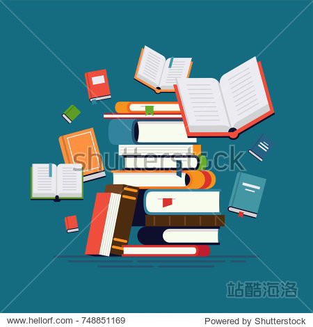 Cool vector flat design illustration on reading with abstract pile of books and flying around open and closed books. Knowledge  learning and education concept design