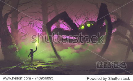 dark fantasy concept showing the boy with a torch facing giant spider in mysterious forest  digital art style  illustration painting
