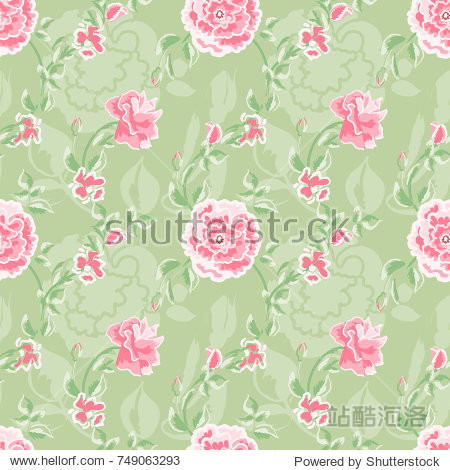 Seamless pattern of floral ornament of beautiful pink roses for wallpaper background in vintage style print for textile.Rose flower.Vector illustration.