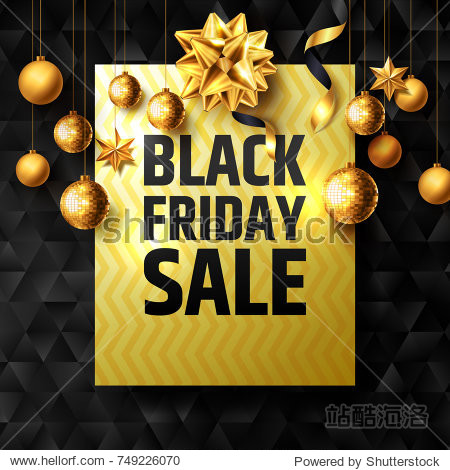 Black Friday Sale Poster with golden ribbon and christmas decoration elements for Retail, Shopping or Black Friday Promotion in golden and black style. Vector illustration