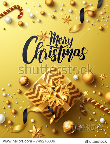 Christmas and New Years Golden Poster with golden gift box  ribbon and christmas decoration elements for Retail  Shopping or Christmas Promotion in golden style. Vector illustration