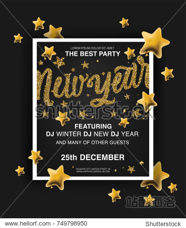 """New Year. Holiday poster templates. Beautiful holiday background with golden glitter text """"New Year""""  gold 3d stars  poster templates. Creative template  banner  flyer or invitation design."""