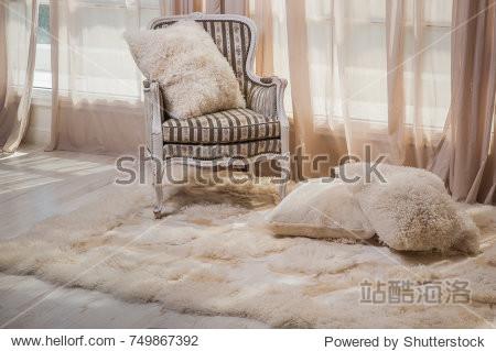 carpet of fur in the interior
