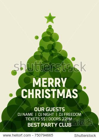 Christmas tree greeting card geometric modern design. Vector xmas tree flat retro minimalistic holiday flyer decoration invitation.