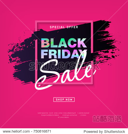 Black Friday Sale Poster with holographic text. Modern concept for cover design. Shopping discount promotion. Sale layout background for business  promotion and advertising. Vector illustration.