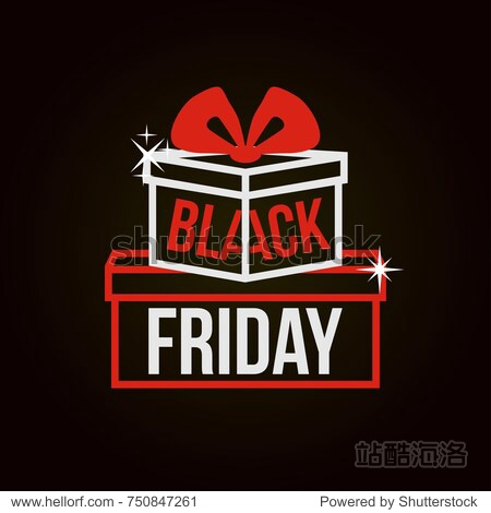 Black Friday. Vector illustration with gift boxes and inscription on a black background