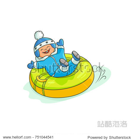 vector flat cartoon teen boy kid having fun riding inflatable rubber tube sled  tubing in winter outdoor clothing and funny hat laughing. Isolated illustration on a white background.