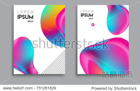 Covers templates set with liquid color  arrangement of abstract lines and style graphic geometric elements. Applicable for placards  brochures  posters  covers and banners. Vector illustrations.