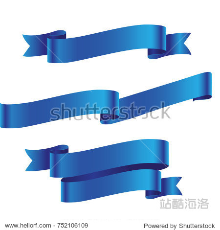 Blue ribbon isolated on white background