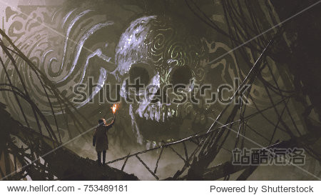 man with a burning torch looking at stone bas-relief of the skull  digital art style  illustration painting
