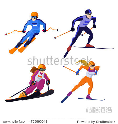 set ross country skiing boy and girl  isolated on white  vector skiing sportsman vector alpine skiing man with ski in sportive flat cartoon skiing woman winter sport competition winter games