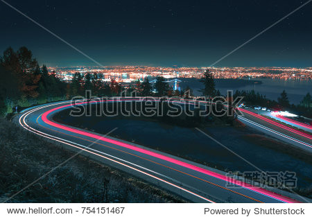 Vancouver City Skyline Long Exposure Cars and Stars.