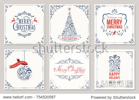 Ornate square winter holidays greeting cards with New Year tree  gift box  Christmas ornaments  swirl frames and typographic design. Vector illustration.