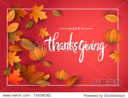 Happy Thanksgiving typography poster isolated with leaves and pumpkins for Thanksgiving postcard  icon or badge. Vector calligraphy lettering holiday quote