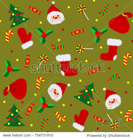 Christmas seamless pattern with cute Santa  mitten  candy  holly berry  boot  bag  Christmas tree and confetti on a gold background