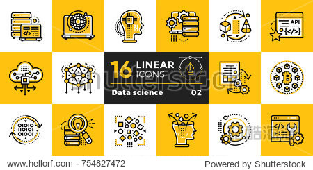 Linear icon set of Data science technology and machine learning process. Material design icon suitable for print  website and presentation