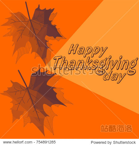 Thanksgiving greeting card with orange background and polygonal  maple leaves