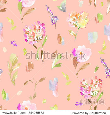 Pink Painted Floral Background Pattern