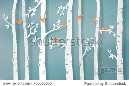 Illustration of winter season Bird are flying in the forest paper art and craft style.