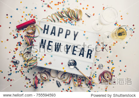 Happy New year displayed on a vintage lightbox with decoration for New Year's Eve  concept image