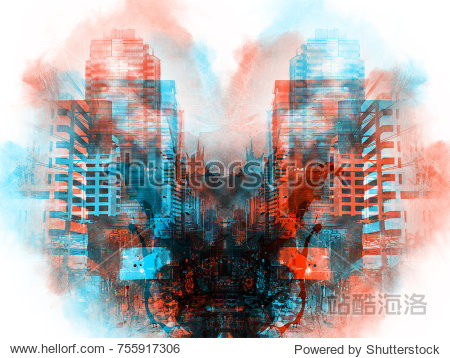 Abstract offices building in city on watercolor painting background. City on Digital illustration brush to art.