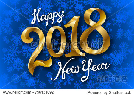 Happy New Year 2018 lettering on blue vector snowflakes background art