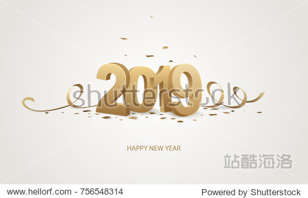 Happy New Year 2019. Golden 3D numbers with ribbons and confetti on a white background.