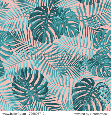 Tropical leaf design featuring teal green palm and Monstera plant leaves on a pink background. Seamless vector repeating pattern.