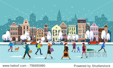 Winter city street.Winter landscape with people.Vector illustration.City landscape set with buildings people   shop and stores  transport  vector illustration.Winter town.