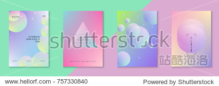 Holographic fluid set with circles. Geometric shapes on gradient background. Trendy hipster template for placard  presentation  banner  flyer  brochure. Minimal holographic fluid in neon colors.