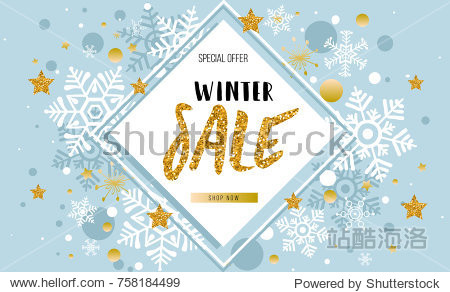 Christmas  new year  winter sale banner. Poster  background  flyer  invitation card  template design with snowflakes  stars on blue. Vector illustration.