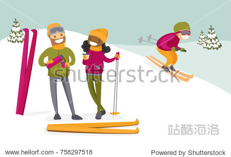 Young multicultural couple of skiers drinking hot coffee from thermos at ski resort. Happy african-american woman and caucasian man having break after skiing. Vector isolated cartoon illustration.