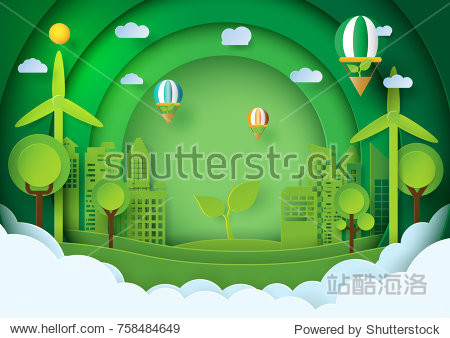 Green eco friendly concept design.Paper art style of green city and environment conservation.Vector illustration.