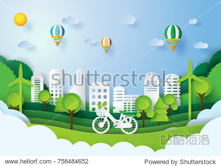 Green energy concept design.Paper art style of eco city concept and environment conservation.Vector illustration.