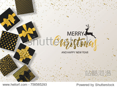 Merry Christmas and Happy New Year background with gift box and confetti. Modern design.Universal vector background for poster  banners  flyers  card.
