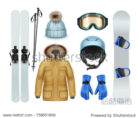 Winter sports stuff and apparel: brown coat with fur hood  pants  gloves  knitted cap  goggles  helmet  ski  sticks  snowboard front view isolated on white background