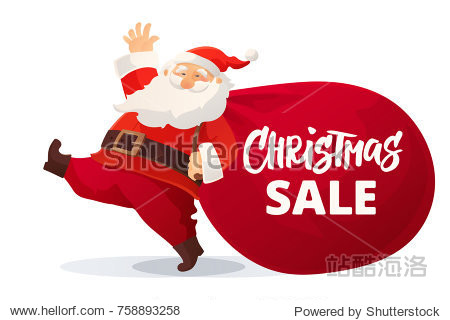 Christmas advertising design. Funny cartoon Santa Claus with huge red bag with presents. Christmas sale hand drawn text. Great for New Year promotion banners  headers  posters  stickers and labels.