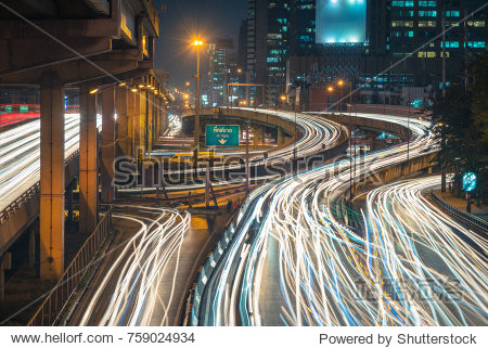 Long exposure for the twilight in the capital and car light trail of bangkok  thailand