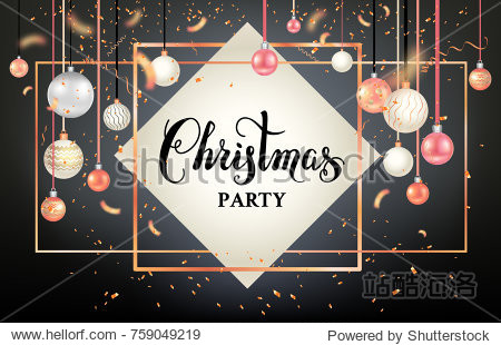 Black winter decoration with shiny balls on trendy geometric frame. Dark Christmas holiday template for banners  advertising  leaflet  cards  greeting  invitation and so on.