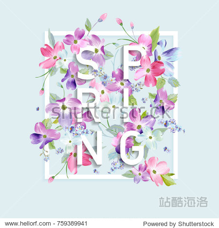 Floral Spring Graphic Design with Dogwood Blossom Flowers for Fashion Print  Poster  T-shirt  Banner  Greeting Card  Invitation. Vector illustration