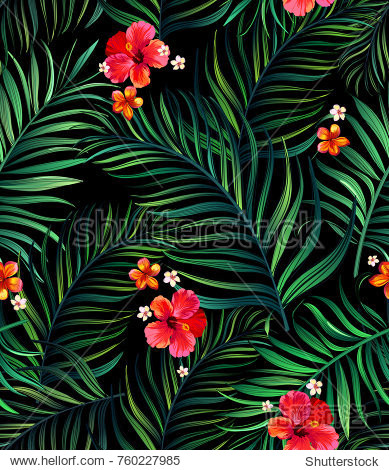 Seamless hand drawn tropical vector pattern with realistic hibiscus flowers and exotic palm leaves on dark background.