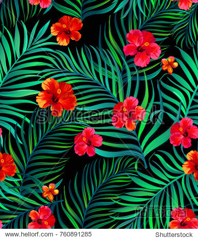 Seamless tropical pattern. Vector illustration for print  textile  swimwear  cover. ESP 10.