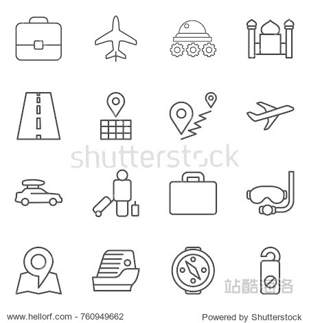 Thin line icon set : portfolio  plane  lunar rover  minaret  road  map  route  car baggage  passenger  suitcase  diving mask  cruise ship  compass  do not distrub
