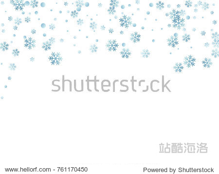 Snowflake macro vector illustration  snow flakes confetti chaotic scatter card in blue and white. Winter xmas snow background. Flakes falling and flying winter tale vector background.
