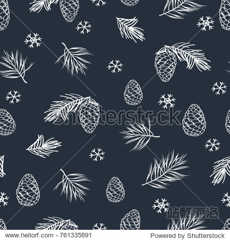 Winter seamless pattern with hand drawn cones and pine spruce. Hand drawn Christmas  New Year elements with chalk on the blackboard. Vector illustrator.