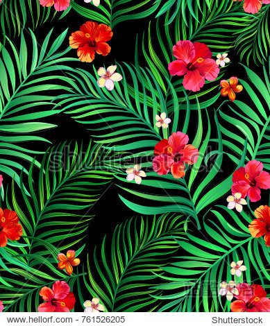 Seamless hand drawn tropical vector pattern with bright hibiscus flowers and exotic palm leaves on dark background. Template for print design.